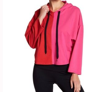 RED/PINK COLOR BLOCK HOODIE 95% COTTON
